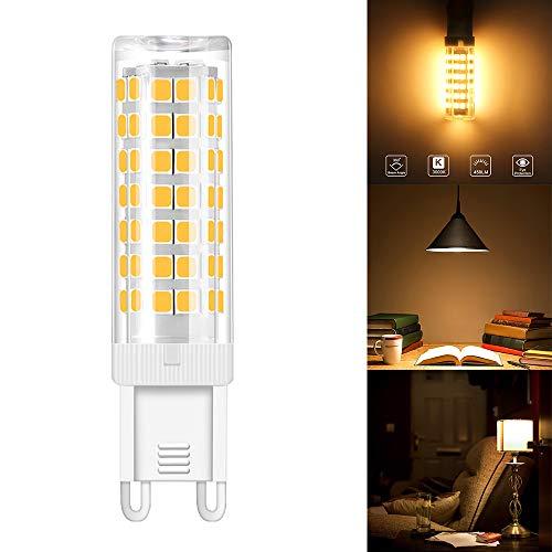 ABEDOE G9 Keramiksockel LED Glühbirnen, 76 SMD 2835 Leds Mais Lampe Licht, 6W 450LM 3000K, 360 Grad Abstrahlwinkel, kein Flimmern Augenschutz(warmweißes Licht, G9 6W-220v)