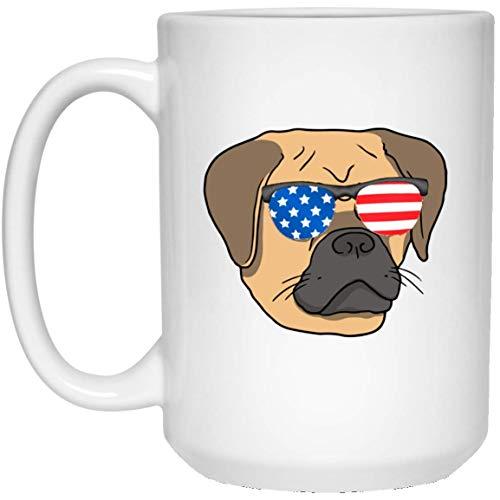 Rael Esthe Funny Pug Red Gold con Gafas de Sol de Bandera Americana Taza Blanca