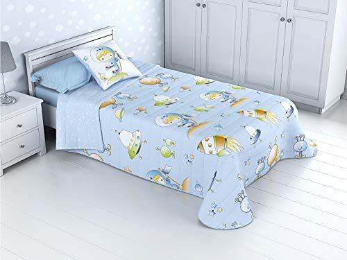 Colcha Bouti Infantil Reversible 100% con Funda de cojín y Tacto algodón Mod. Espacial (Cama de 105 cm (200x270 cm))