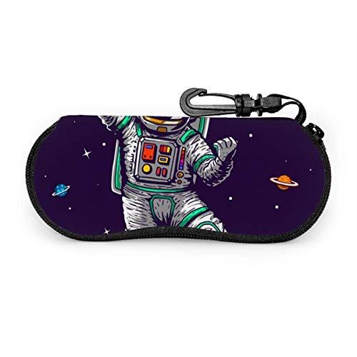 Estuche para gafas con diseño de astronauta que patina en el espacio como un jefe con eslogan de dibujos animados, estuche para gafas portátil, con cerradura de llave