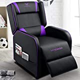 VIT Gaming Recliner Chair Racing Style Single PU Leather Sofa Modern Living Room Recliners Ergonomic Comfortable Home Theater Seating, Purple