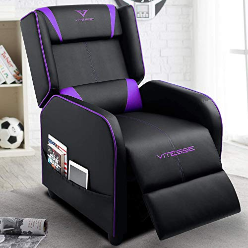 VIT Gaming Recliner Chair Racing Style Single PU Leather Sofa Modern Living Room Recliners Ergonomic Comfortable Home Theater Seating (Purple)