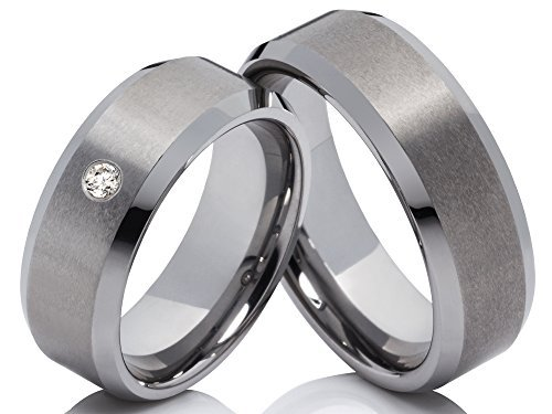 2 Ringe Eheringe Trauringe Verlobungsringe Hochzeitsringe mit einem Zirkonia aus Wolfram Tungsten inkl Gravur