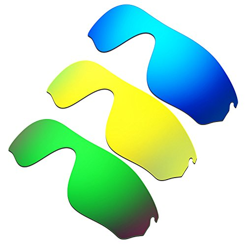 HKUCO Mens Replacement Lenses For Oakley RadarLock Pitch Blue/24K Gold/Emerald Green Sunglasses