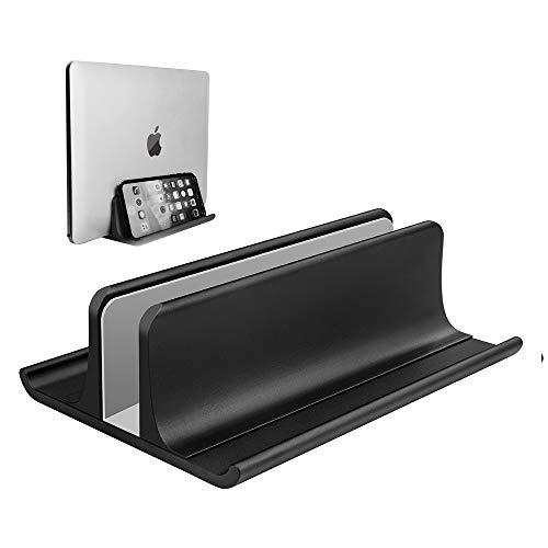 調節可能 ノートパソコン スタンド 縦置き ノートパソコン用ベースでもあり、スペースを節約できる一つ三役のノートパソコン縦置きスタンドです。 収納 ホルダ MacBook Pro Air、Mac、HP、Dell、Microsoft Surface、Lenovo全てに対応しています、高さは最大17.3インチ 黒