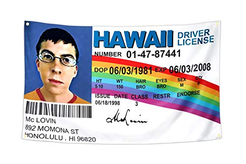 Xinttka College Flag for McLovin Fake ID Driver License Wall Tapestry 3x5 Feet 200D Thicker HD Printing Banner Dorm Room Indoor Poster