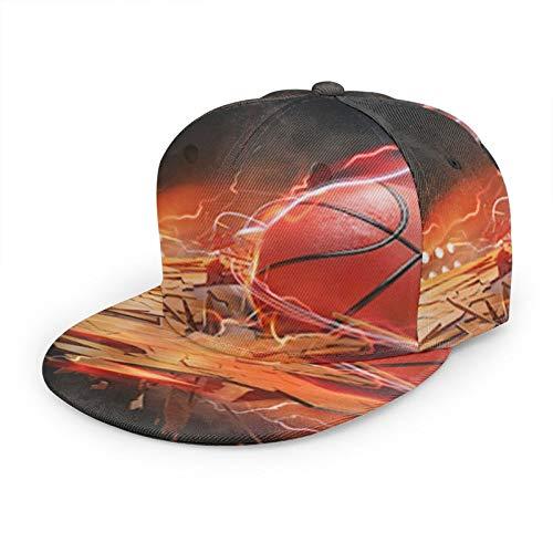 Gorra de béisbol plana 3D Baloncesto Fire Lightning Board Flat Brim ajustable Snapback Caps Sport Dad Hat Trucker Sombreros para hombres y mujeres negro