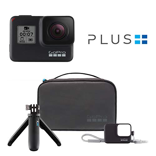 GoPro HERO7 Black - Waterproof Digital Action Camera with Accessory Travel Kit and GoPro Plus