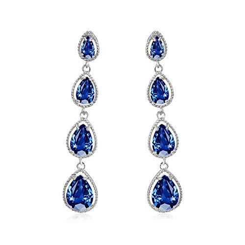 Mujer cristal agua gota piedra colgante pendientes boda azul real Zircon largo gota pendientes para las mujeres