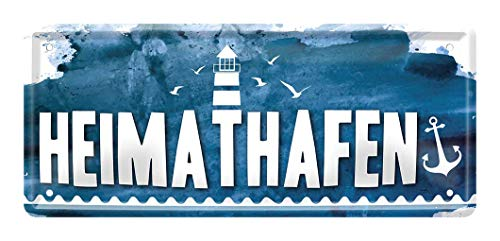 Heimathafen - Retro Deko Blechschild - Metallschild für ihren Lieblingsplatz - Dekoration Schild für Eingang Haustür Küche Garage Boot - vintage maritim style - Anker und Leuchtturm - 28x12cm