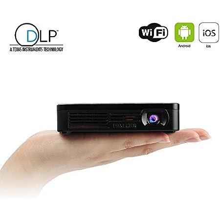 EZAPOR HDP200 ミニプロジェクター Miracastワイヤレス接続 HD解像度1080×1920 Pico DLPリモコン付き ブラック