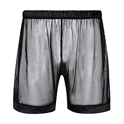 YiZYiF Herren Boxershorts Mesh Lange Bein Boxer Shorts Unterwäsche Männer Unterhose Trunks mit Transparent Effekt M-XL Schwarz Large