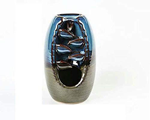 Quemador de incienso de reflujo con 10 conos de incienso de reflujo, quemador de incienso de cerámica