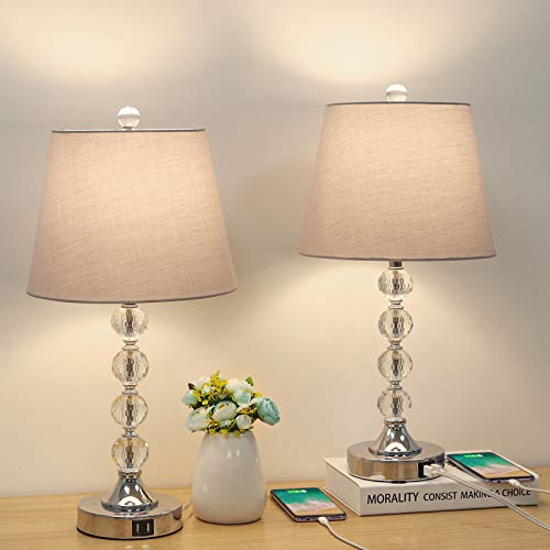Bedside Crystal Table Lamps Set of 2 with Dual USB Charging Ports, Boncoo Modern Nightstand Lamp Decorative Simple Night Light Lamp with Gray Lampshade for Bedroom Living Room A19 8W LED Bulb Included