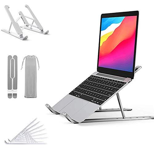 YFLFTST Laptop Stand,Plegable Ventilado Soporte Ordenador Portátil Stand Ajustable 6 Ángulos Ajustabl AntideslizanteSoporte Portátil ABS+Aluminio Compatible con portátiles de 15,6 Pulgadas