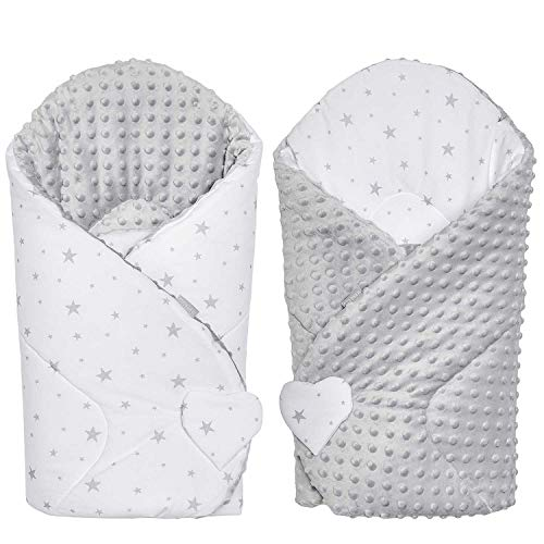 Sevira Kids – Pucksack – Winter – Baby – vielseitig verwendbar – 100 % Baumwolle – Mincky wendbar – Einschlagdecke – Geschenk zur Geburt – Stella grau – 80 x 80 cm