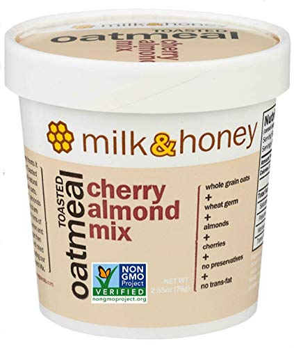 Milk & Honey Toasted Oatmeal, Cherry Almond Mix, Single Serve 2.65 Ounces Cups, Non-GMO Project Verified, Women-Owned Company, (Pack of 12)