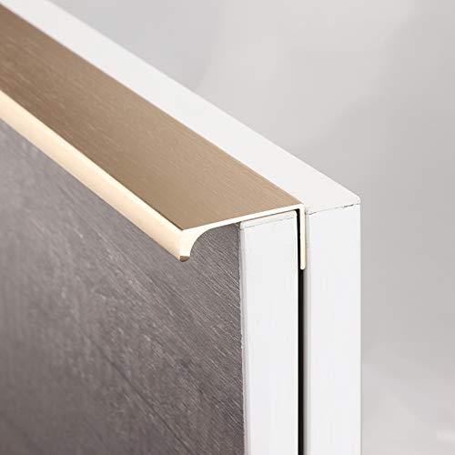 Geovne Concealed Tab Door Handle,Furniture Handle,Cabinet Handles,Drawer Pulls,No Need To Punch,for Cupboard Door,Bedroom Dresser Drawer,Bathroom Wardrobe Hardware,Golden (Overall Length:1000mm/39in)