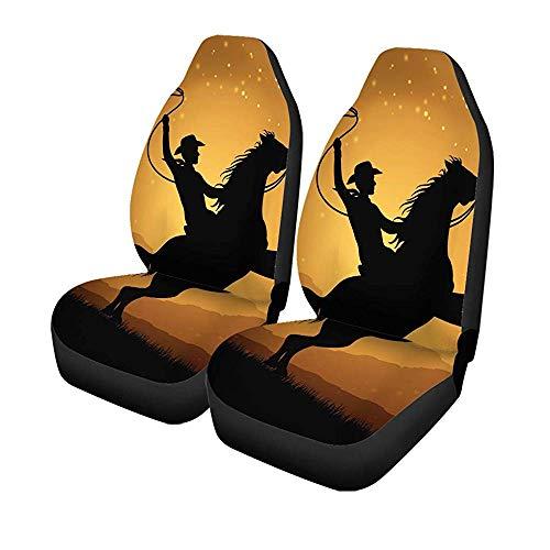 Set met 2 autostoelhoezen Action Silhouet van Cowboy Lasso op Pferdemann Universal Auto Front Seat Protector 14-17IN