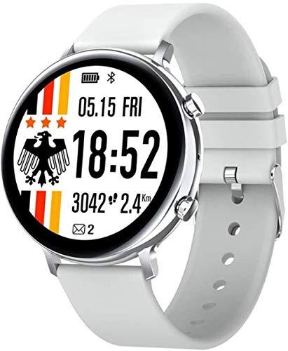 Reloj Inteligente Hombres Mujeres Bluetooth Llamada Smartwatch Hd Pantalla ECG+PPG Smartwatch Ip68 Impermeable para iOS Android-Gris Plata