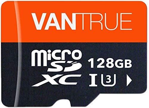 VANTRUE - Tarjeta de Memoria microSDXC (128 GB, UHS-I U3 V30, Clase 10 4K, Incluye Adaptador, Compatible con Dashcam, Smartphone, Tableta, cámara de acción y cámara de vigilancia)