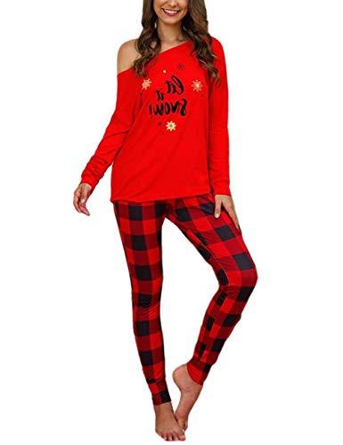 Conjunto de Pantalones de Traje de 2 Piezas de Navidad para Mujer, Elegantes Pantalones de Cintura Alta con Estampado de Letras de Manga Larga y Cuadros (Red, S)
