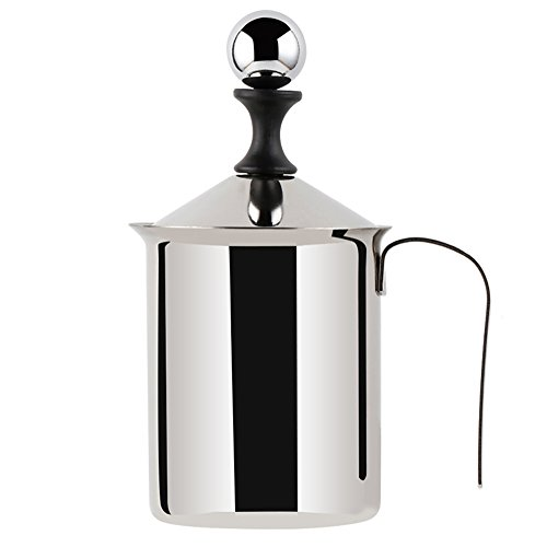 Milk Frother - WeHome Stainless Steel Double Mesh Manual Milk Creamer Coffee Milk Foam Frothing Pitcher,Best Froth Pump Foamer Cup for Coffee Latte Cappuccino Hot Chocolate (13.5-Ounce/400ml)