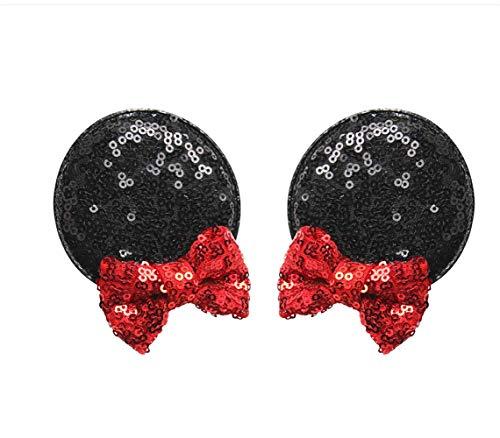 Cathercing Minnie Mouse Oren Haarspeldjes voor Meisjes Minnie Oren Hoofdbanden Pailletten Boog Haarstuk Accessoires voor Vrouwen Jongens Thema Kostuum Party
