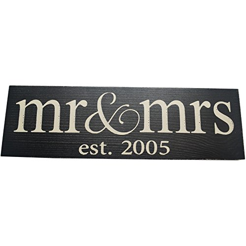 Local Artist Mr and Mrs Est 2016 Vintage Wood Sign Handmade Wall Decor, Black (Lowercase)