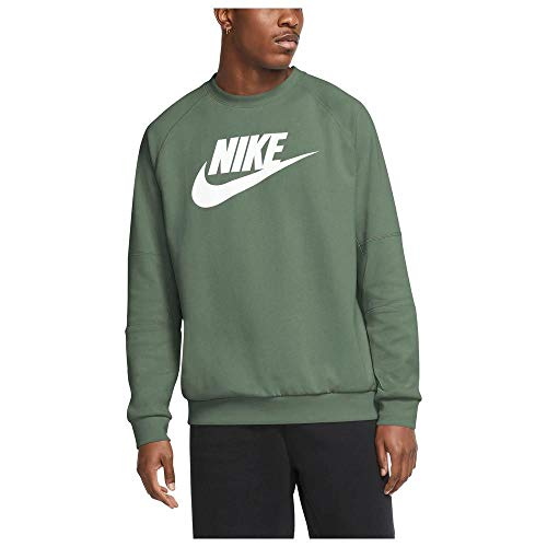 Nike Herren Modern CRW FLC Hbr Sweatshirt, Spiral Sage/White, L