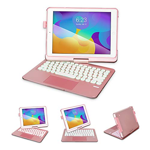 """OUSMIN Keyboard Case for iPad Air 2/Pro 9.7""""/2017&2018 9.7"""", Detachable iPad Protective Case with 360°Rotatable, 7 Colorful Backlight, Pen Holder (Pink)"""