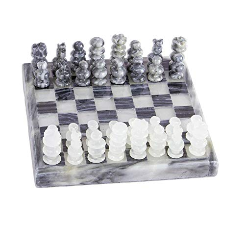 NOVICA Grey and Ivory Challenge Onyx and Marble Chess Set