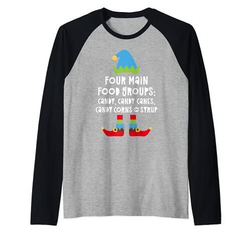 Hombre Four Main Food Groups Candy Canes - Camiseta con jarabe de maíz Camiseta Manga Raglan