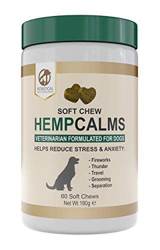 Petastical Hemp Oil for Dogs Chews - Dog Calming Aid Tablets for Anxiety Relief - Veterinarian Formulated - 60 Soft Chews