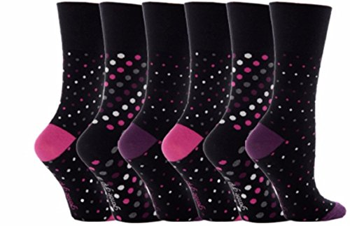6 Paar Gentle Grip Socken für Damen, weich & feminin mit Wabenoberteil für zusätzlichen Komfort 4-8 UK, 37-42 Eur