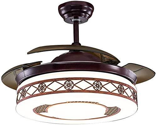 Chinese restaurant plafondventilator licht woonkamer retro LED kroonluchter slaapkamer onzichtbare ventilator afstandsbediening plafondventilator licht (kleur: zwart, maat: 4 44 * 106CM Zwart