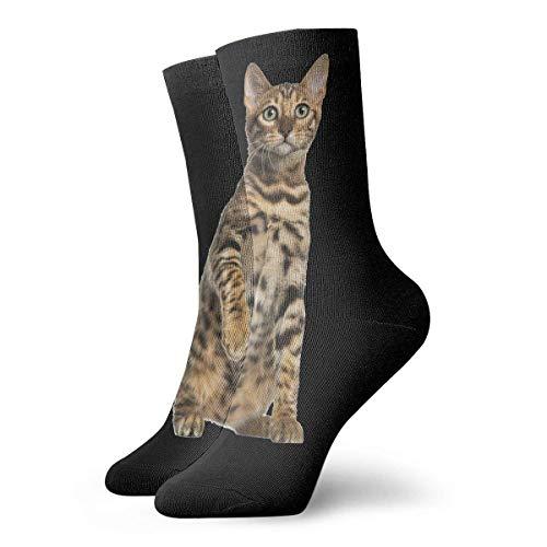 Calcetines largos de algodón atlético de 30 cm de aspecto salvaje con gato de Bengala