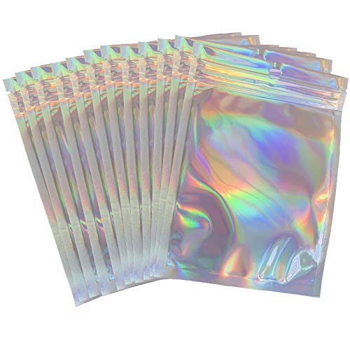 100Pack Holographic Foil Pouch Bags Flat Ziplock Bag Mylar Bags Resealable Aluminum Foil Bags Rainbow Smell-proof Bags for Food Storage Candy Lip Gloss Party Favor(Holographic,4x6 inch)
