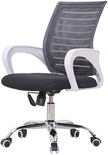YONGYONGCHONG Silla de oficina, silla de ordenador, silla de oficina, transpirable, diseño de espalda media, control de tensión inclinable, rotación flexible (color negro)