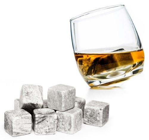 """PRECORN 9er Set Whisky Steine aus natürlichem Speckstein Whiskysteine für Getränke """"on the rocks"""" Eiswürfel Kühlsteine Whiskeysteine Geschenk-Ideen"""