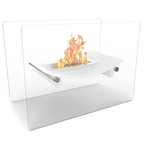 Regal Flame White Bow Ventless Free Standing Bio Ethanol Fireplace Can Be Used as a Indoor, Outdoor, Gas Log Inserts, Vent Free, Electric, Outdoor Fireplaces, Gel, Propane & Fire Pits