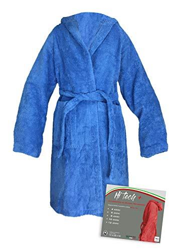 Tex family Hi-Tech Bademantel für Kinder, Jungen, Frottee, reine Baumwolle, hergestellt in Italien, Bluette, 8 Jahre