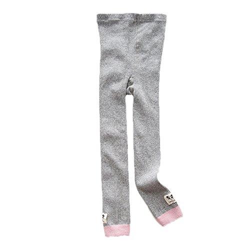 Elonglin – Calça legging infantil de algodão para meninas e crianças, calça de malha com estampa de desenho animado para bebês, leggings para pernas de guerra cinza e rosa adequado para altura de 125 cm (comprimento 72 cm)