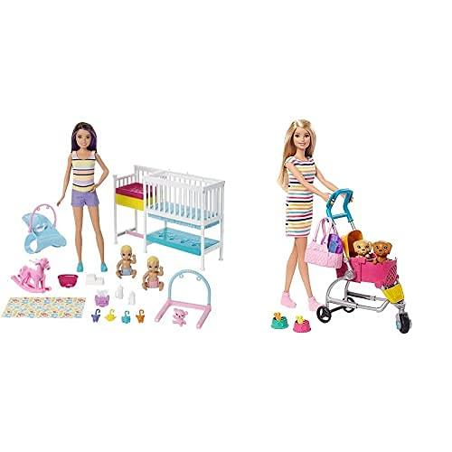 Barbie Skipper Hora De La Siesta, Muñeca Canguro con Bebés Y Accesorios, Regalo para Niñas Y Niños 3-9 Años+Barbie Y Su Carrito para Mascotas, Muñeca Rubia con Accesorios Y Perritos (Mattel Ghv92)