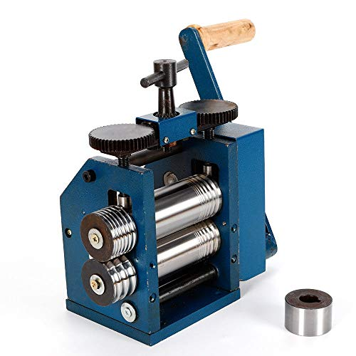 Jewelry Rolling Mill Machine 3 inch 75mm Manual Combination Rolling Mill Gear Ratio 1:6 Presser Roller for Jewelers Square Wire Flat Semicircle Pattern Metal Sheet Marking DIY Tools USA STOCK