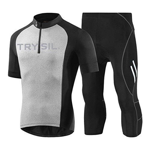 DuShow - Camiseta de manga corta para hombre, transpirable, de secado rápido, cómodo, para ciclismo, correr, fitness, pantalones capri acolchados, color negro, tamaño UK-S
