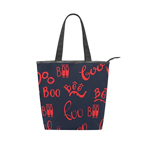 Boo Cartoon Red Letters Leisure Fashion Canvas Handbag for Women Large Tote Bag Shoulder Bag for Gym Beach Travel Daily Bags (11×4×13.6 in)