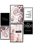 Heimlich® Tableau Décoration Murale - Set de Poster Premium pour la Maison, Bureau, Salon, Chambre, Cuisine - 2 x (30x42cm) et 4 x (21x30cm) | sans Cadres »Coco Noir «