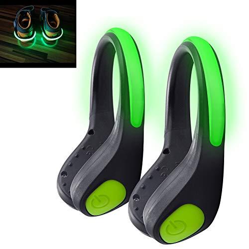 Alviller LED Schuh Clip,Grün 2 Stück LED Blink Clip Bike Shoe Sicherheit Nacht Reflektor Licht für Kinder, Erwachsene, Joggen, Laufen, Outdoor Sports Läufer, Jogger.