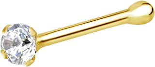Forbidden Body Jewelry 22g 14k Gold CZ Simulated Diamond Micro Nose Stud, 1.25mm-2mm Crystal